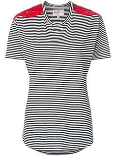 футболка в полоску с аппликациями на плечах  Sandrine Rose