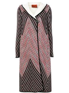 трикотажное пальто с капюшоном и вставками  Missoni