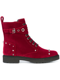 бархатные байкерские ботинки Fendi