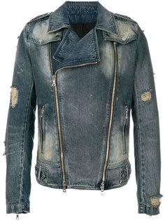 джинсовая куртка в байкерском стиле Balmain
