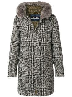 пальто с оторочкой мехом койота Herno