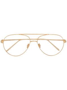овальные солнцезащитные очки Linda Farrow