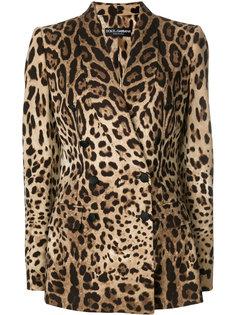 двубортный пиджак с леопардовым принтом  Dolce & Gabbana