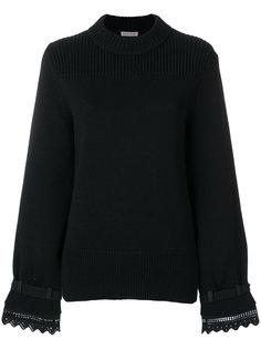 свитер с кружевной вышивкой  Moncler