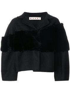 укороченный пиджак с меховой вставкой Marni