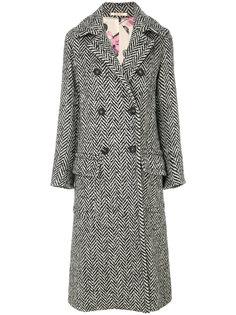 длинное двубортное пальто с шевронным узором  Massimo Alba