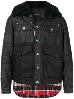 джинсовая куртка с отделкой в клетку Dsquared2