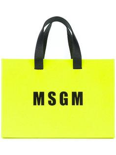 кожаная сумка с логотипом  MSGM