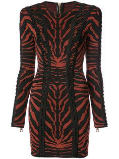облегающее платье с тигровой расцветкой Balmain