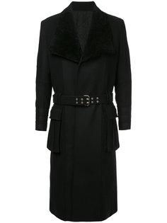 пальто в стиле милитари с поясм Balmain