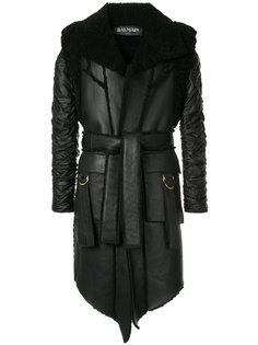 пальто с поясом  Balmain