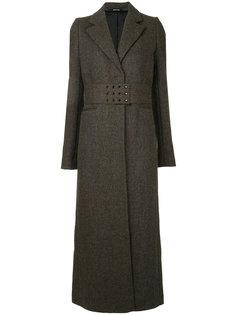 пальто строгого кроя с поясом Maison Margiela