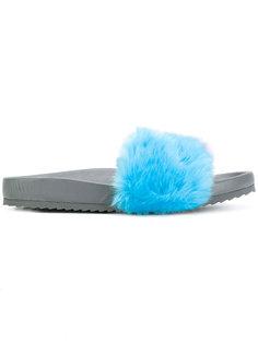 faux fur slides Mira Mikati