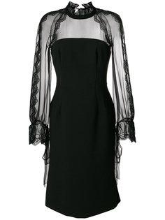 кружевное платье миди с длинными рукавами  Alberta Ferretti