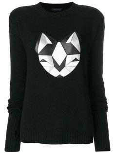 свитер с серебристым котом  Frankie Morello