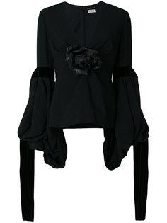 рубашка с цветами и бархатными завязками  Saint Laurent