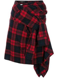 асимметричная юбка с узором тартан  Dsquared2