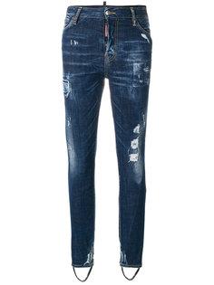 джинсы с прорехами и штрипками  Dsquared2