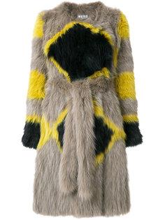 пальто с принтом и поясом  Meteo By Yves Salomon