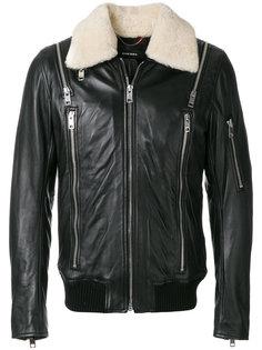 кожаная куртка с молниями Diesel
