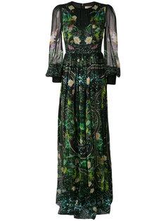 длинное платье  с цветочной вышивкой Piccione.Piccione