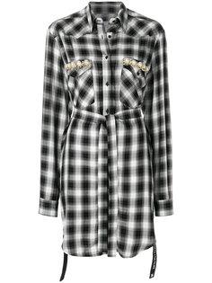 пальто с поясом и узором тартан Forte Couture