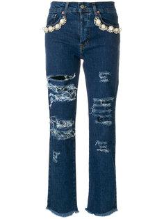 джинсы с прорехами  Forte Couture