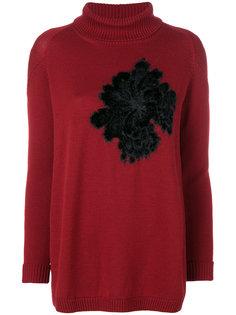 свитер с отворотом и цветочной аппликацией  D.Exterior