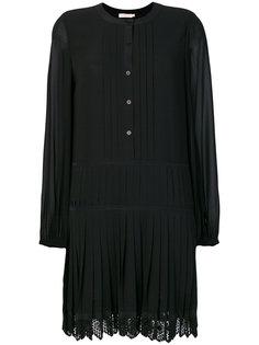 плиссированное платье на пуговицах  Tory Burch