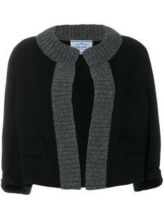 укороченный пиджак с трикотажной отделкой  Prada