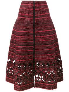 юбка А-силуэта из шерстяного микса с декоративными прорезями Fendi
