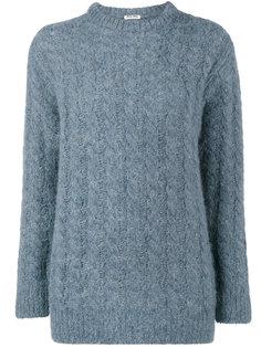 свитер с вязкой косичками Miu Miu