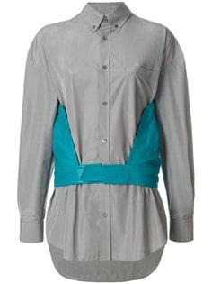 рубашка с кожаными панелями Balenciaga