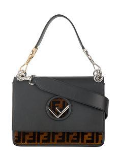кожано-шелковая квадратная сумка Kan I с логотипом Fendi