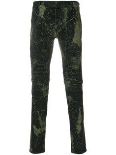 байкерские брюки с абстрактным принтом Balmain