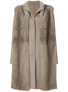 однобортное пальто со съемным меховым воротником Manzoni 24