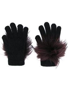 перчатки с отделкой из меха енота Yves Salomon