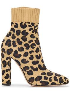 трикотажные ботинки Sauvage 85 с леопардовым принтом Gianvito Rossi