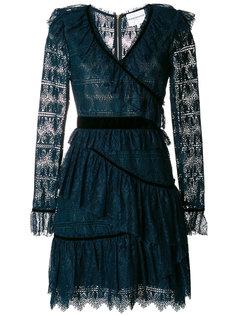 кружевное платье с бархатной отделкой и оборкой  Perseverance London