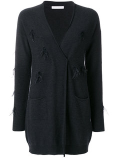 пуловер с отделкой перьями и V-образным вырезом  Fabiana Filippi