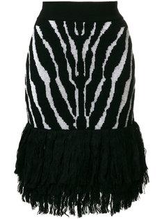 юбка с принтом полосок зебры  Balmain