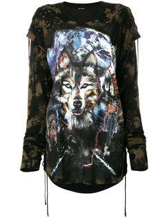 футболка с длинными рукавами и принтом волка  Balmain