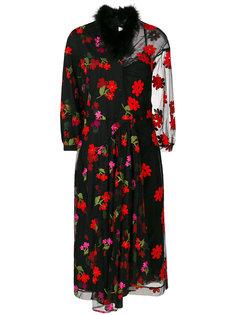 платье миди с цветочной вышивкой  Simone Rocha