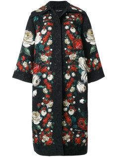 пальто с принтом роз  Dolce & Gabbana