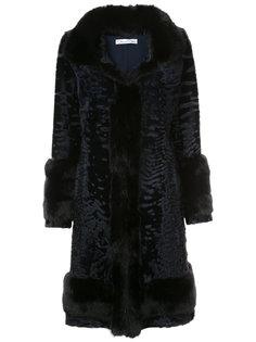 однобортное пальто из каракуля Oscar de la Renta