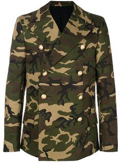 двубортное пальто с камуфляжным принтом Balmain