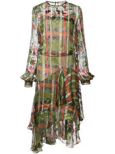 клетчатое платье с каскадным подолом Preen By Thornton Bregazzi