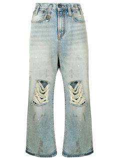 укороченные широкие джинсы с потертостями  R13