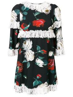 платье с оборкой и цветочным принтом  Dolce & Gabbana