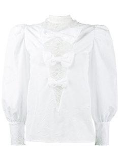 блузка с эффектом помятости и кружевными вставками Alessandra Rich